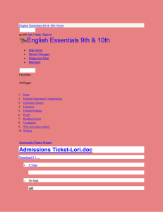 English Essentials 9th & 10th - Admissions Ticket-Lori