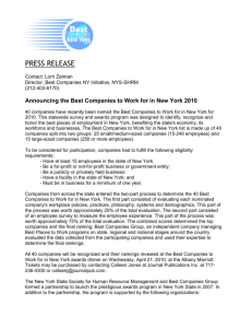 PRESS RELEASE - Best Companies to Work for in New York