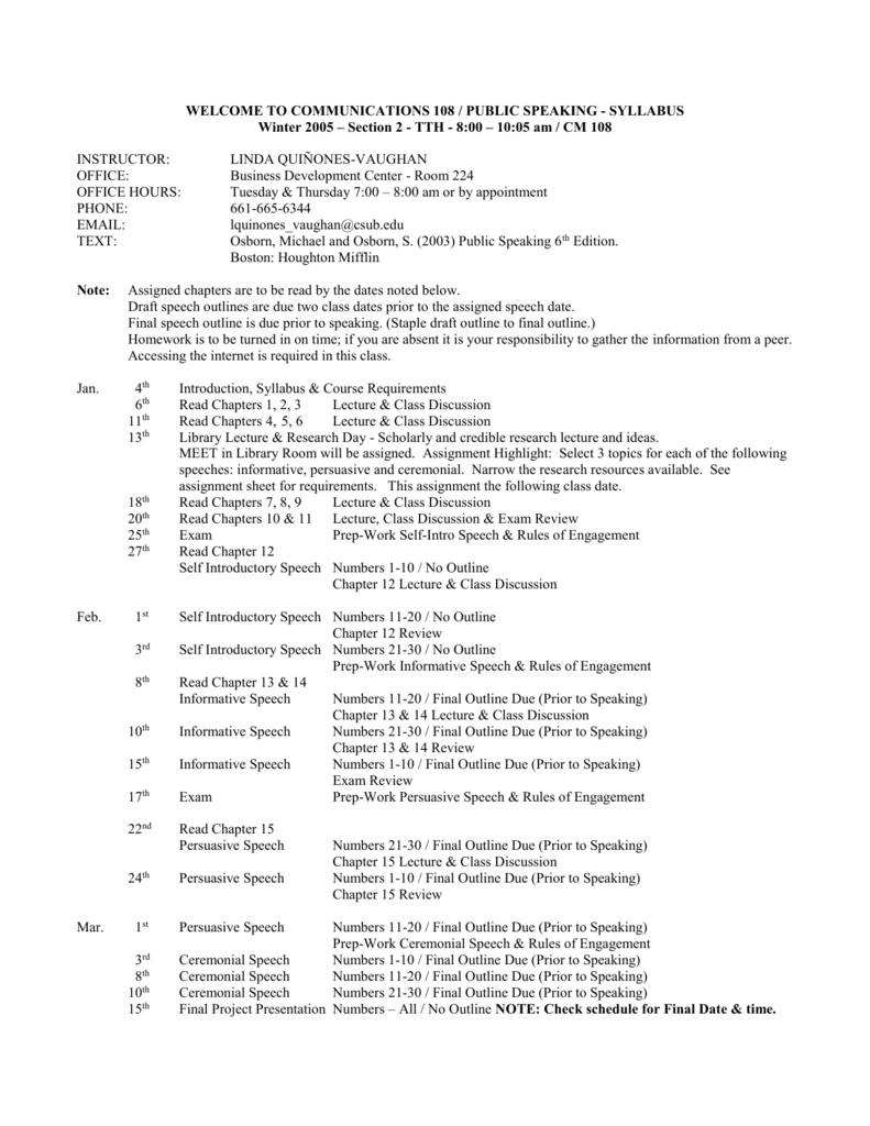 communications 108 public speaking syllabus