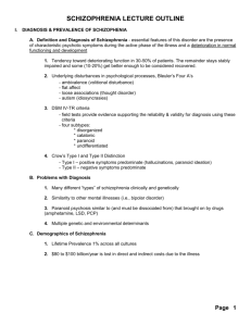 SCHIZOPHRENIA LECTURE OUTLINE