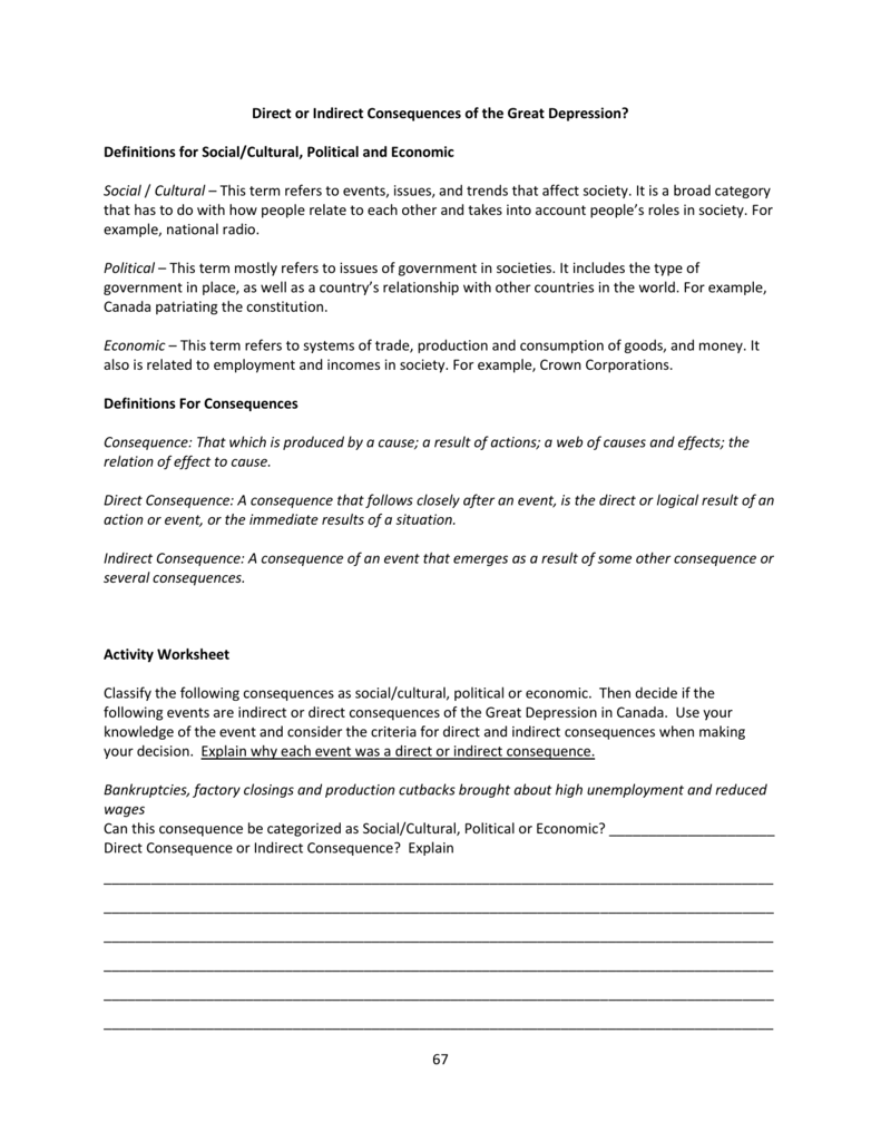ATT 2 Direct or Indirect Consequences of the Great Depression – Causes of the Great Depression Worksheet