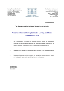 Prescribed Material for English in the Leaving Certificate