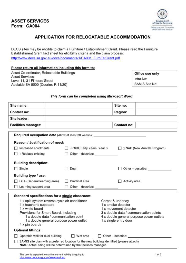 Asset Services Form Ca004 Template Application For