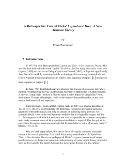 A Retrospective View of Hicks` Capital and Time