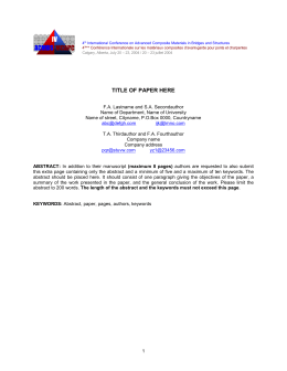 Abstract Only Page - University of Calgary