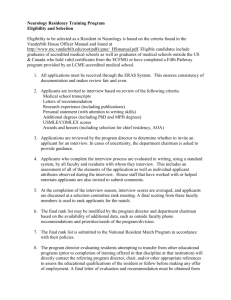Criteria for Vanderbilt University Infectious Diseases Fellow Selection