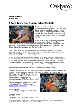 News Release 7th May 2013 A Royal Fanfare for Oakham School