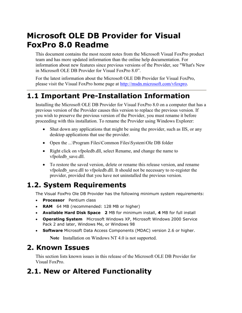 Microsoft OLE DB Provider for Visual FoxPro 8 0 Readme