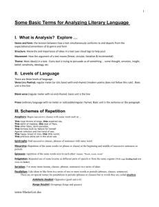 Some Basic Terms for Analyzing Literary Language