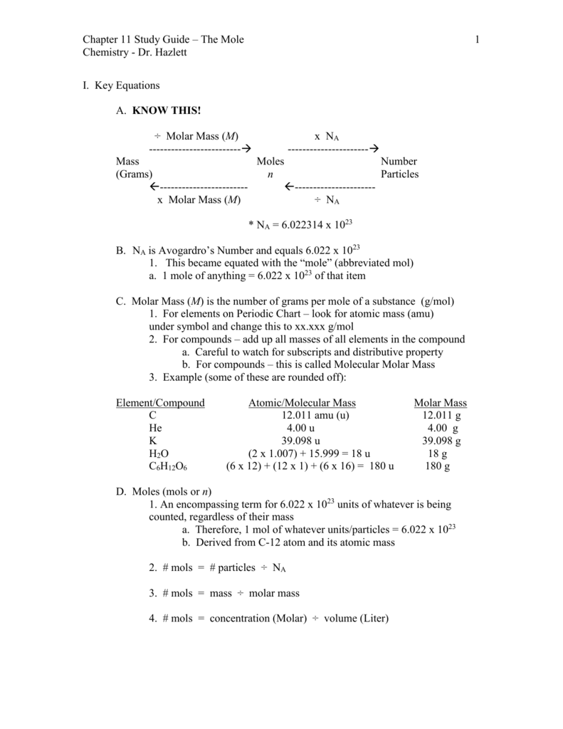 Chemistry The Mole
