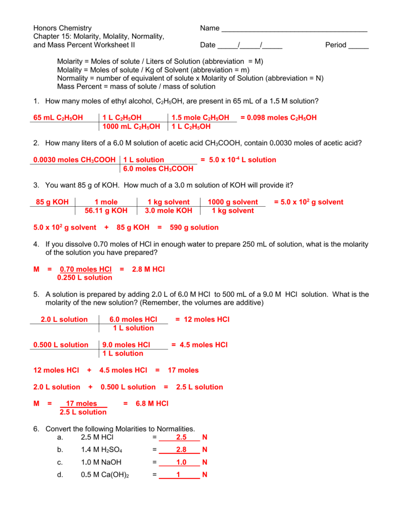 Worksheets Molarity Worksheet Chemistry molarity molality and normailty