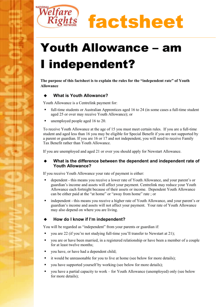 Youth Allowance Am I Independent