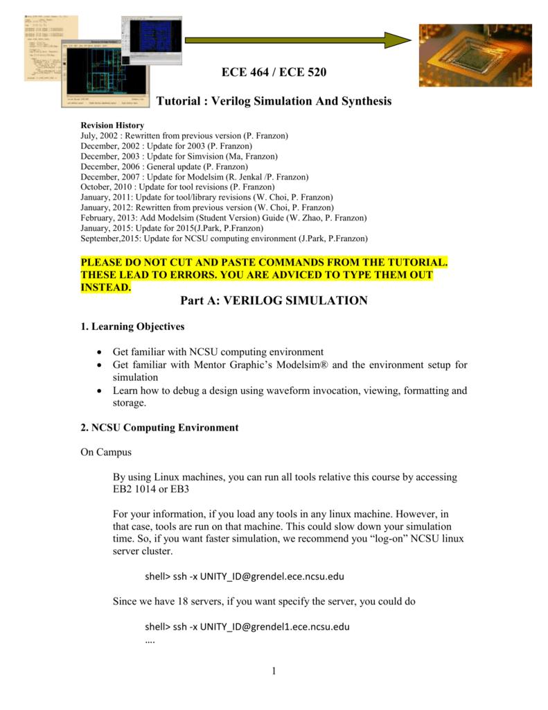 Part A: VERILOG SIMULATION