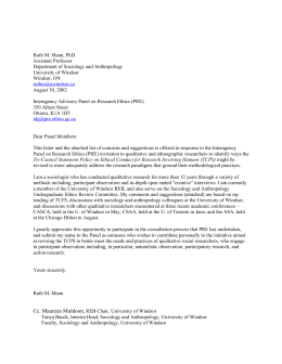 This letter is a response to the Interagency Panel on Research Ethics