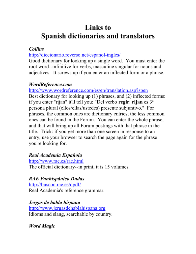 Links to Spanish dictionaries
