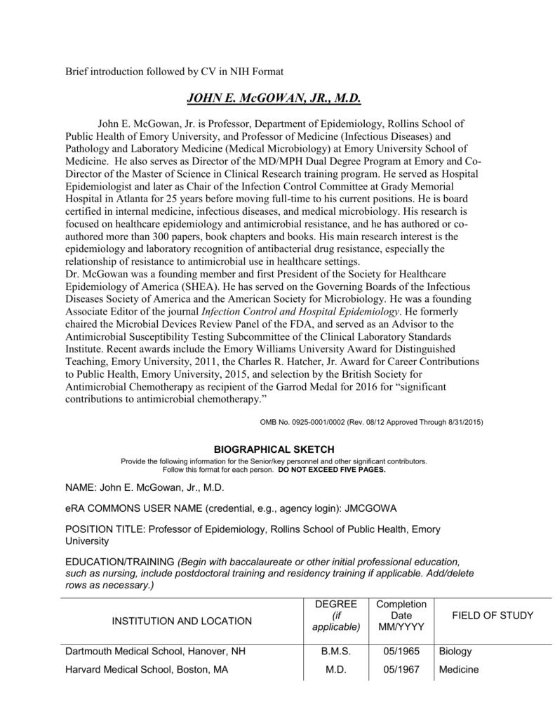 Brief Introduction Followed By CV In NIH Format JOHN E McGOWAN JR MD John McGowan Jr Is Professor Department Of Epidemiology Rollins School