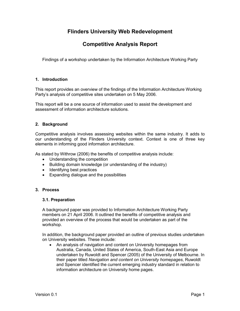 Competitive Analysis Report