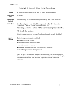 Activity sheet VII-10 : Quality Control of Qualitative Tests
