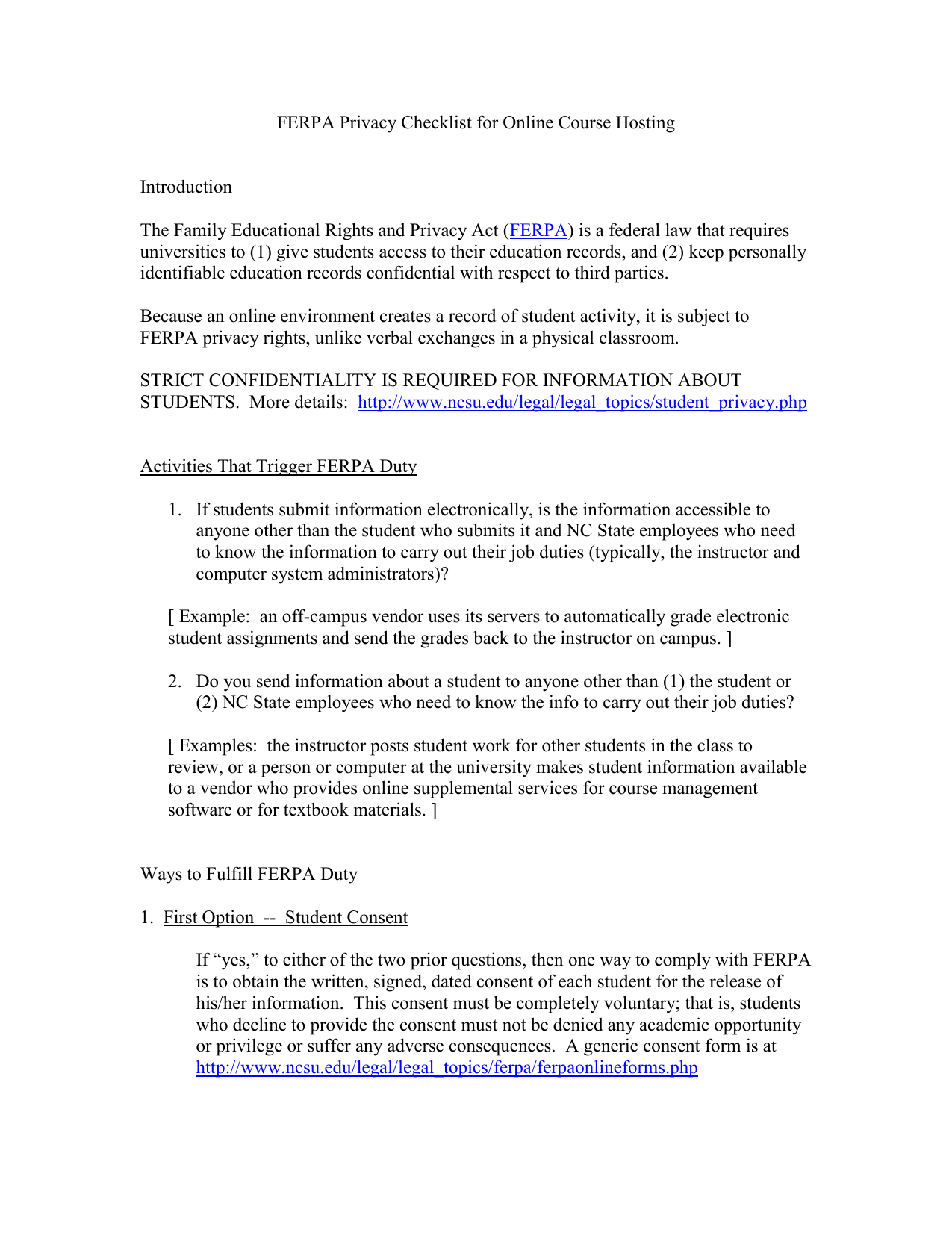 ferpa form fit  FERPA Privacy Checklist for Online Course-Hosting
