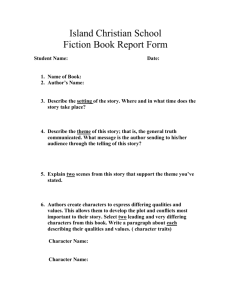 Island Christian School Fiction Book Report Form