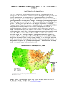 Trends in Wet Deposition of Nitrogen in the United States, 1985-2001