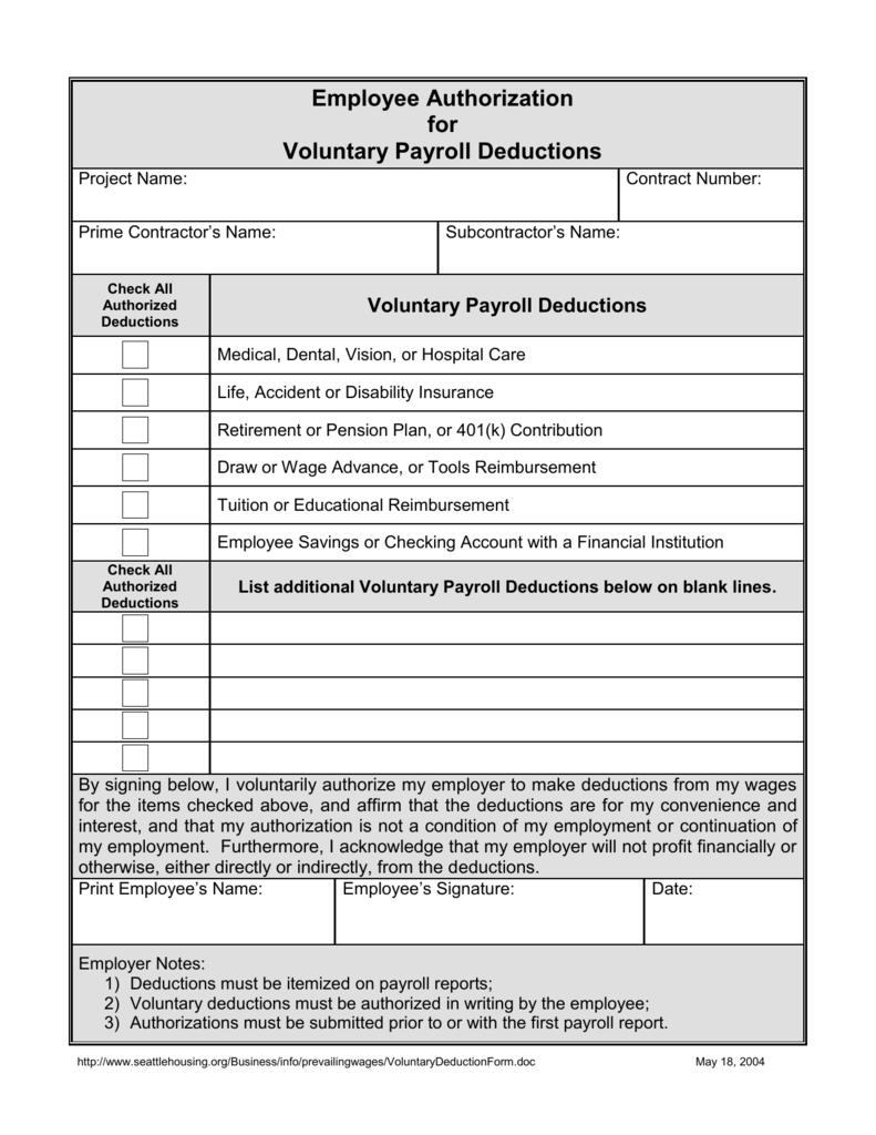 Employee Authorization of Voluntary Deductions