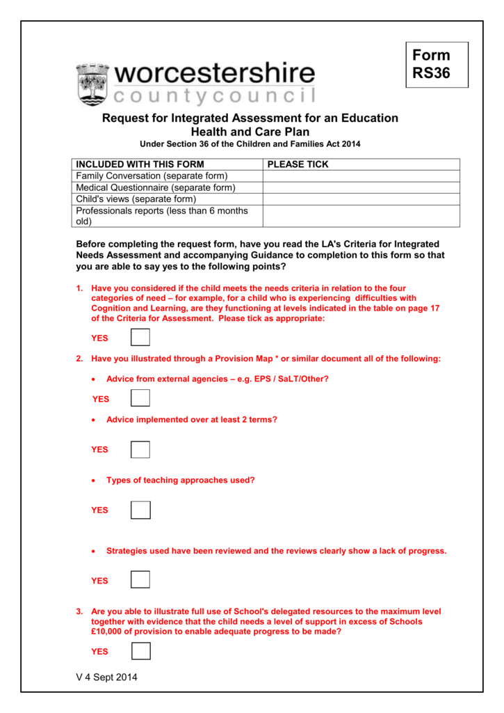 Form RS36 Request for Integrated Assessment - EHC Plan