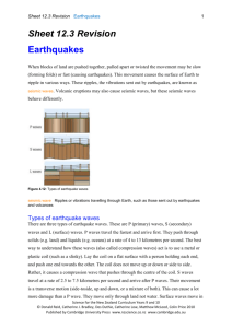 Sheet 12.3 Earthquakes - Science for the NZ Curriculum