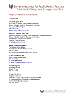 Syllabus and Assignments - Northwest Center for Public Health