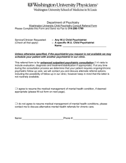 Physician Referral Form - Division of Child and Adolescent