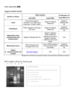 Suggested sample preparation of gene expression array