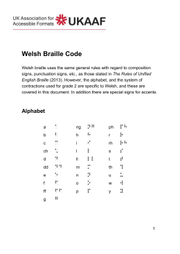 Unified Welsh Braille Code, DOC file (in English)