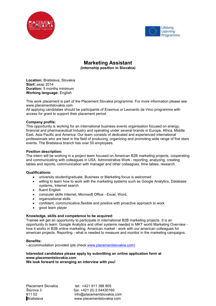 Marketing Assistant (internship position in Slovakia) Location