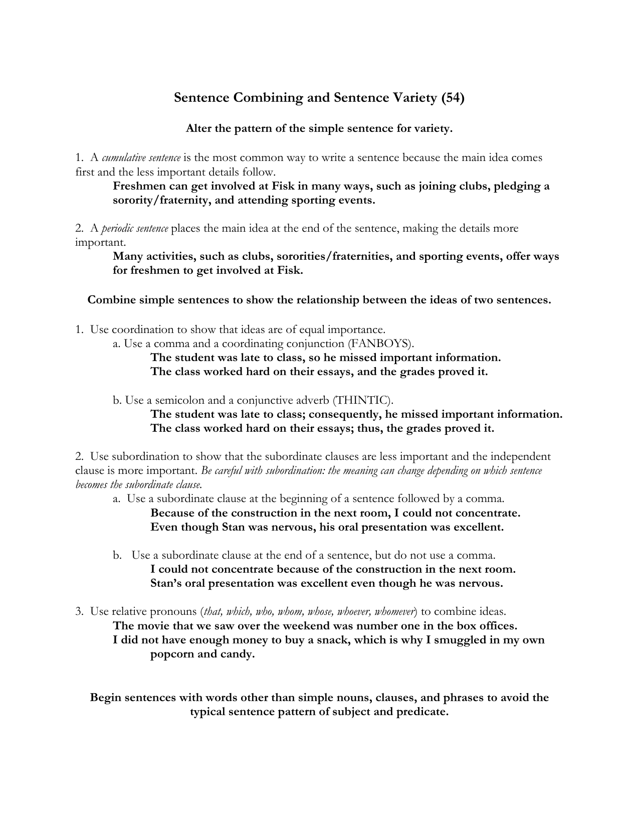 worksheet Conjunctive Adverbs Worksheets sentence combining and variety tutorial 9