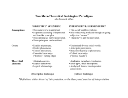 Two Meta-Theoretical Sociological Paradigms