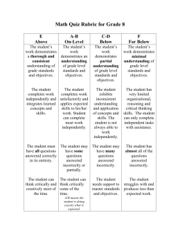 General Math Rubric for Grades 1-3
