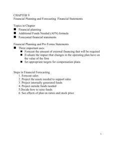 CHAPTER 9 Financial Planning and Forecasting Financial