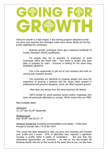 Going for Growth is a high impact, 4 day training program designed