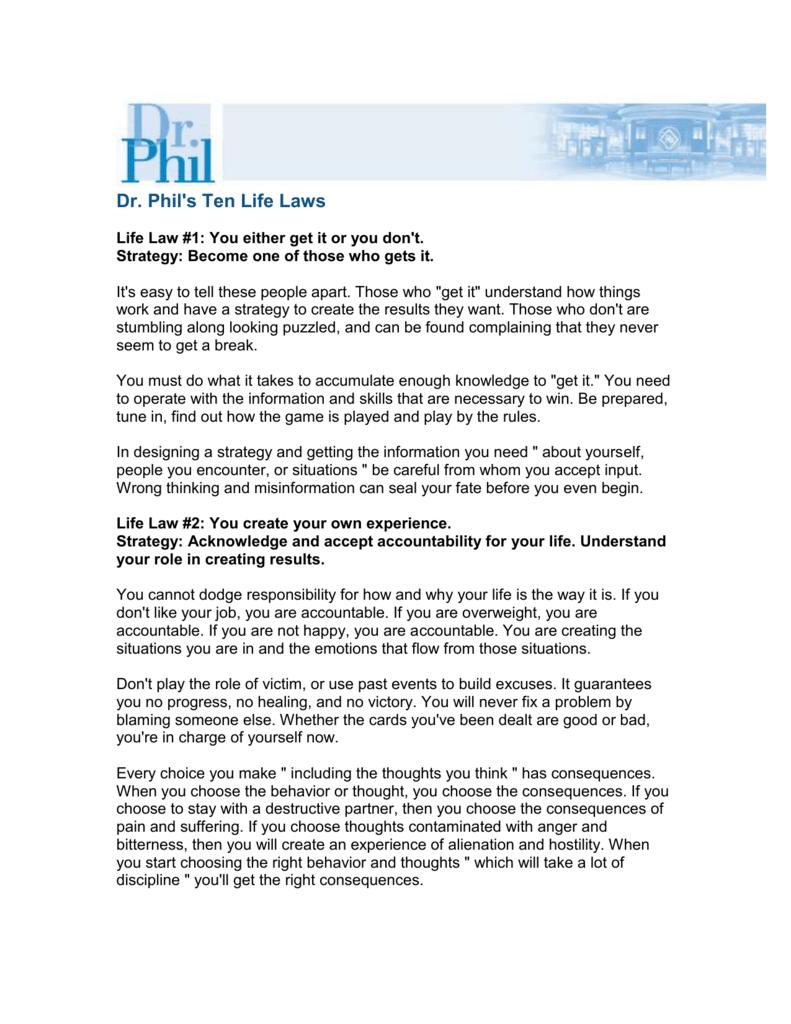 Ten Life Laws - Dr  Phil com