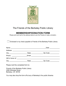 Membership/Donation form here - Friends of the Berkeley Public