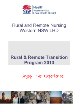 GWAHS Rural & Remote Transition Program 2010
