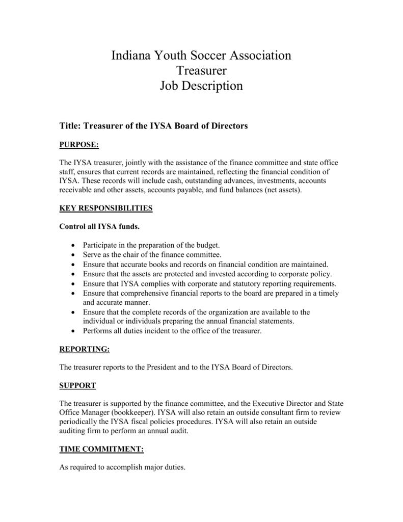 Amazing (1) Board Treasurer Job Description