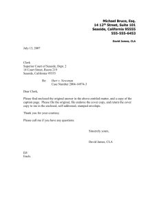 Letter enclosing answer for filing