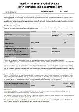 player registration form – 2015/2016