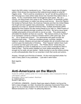 Anti-Americans on the March