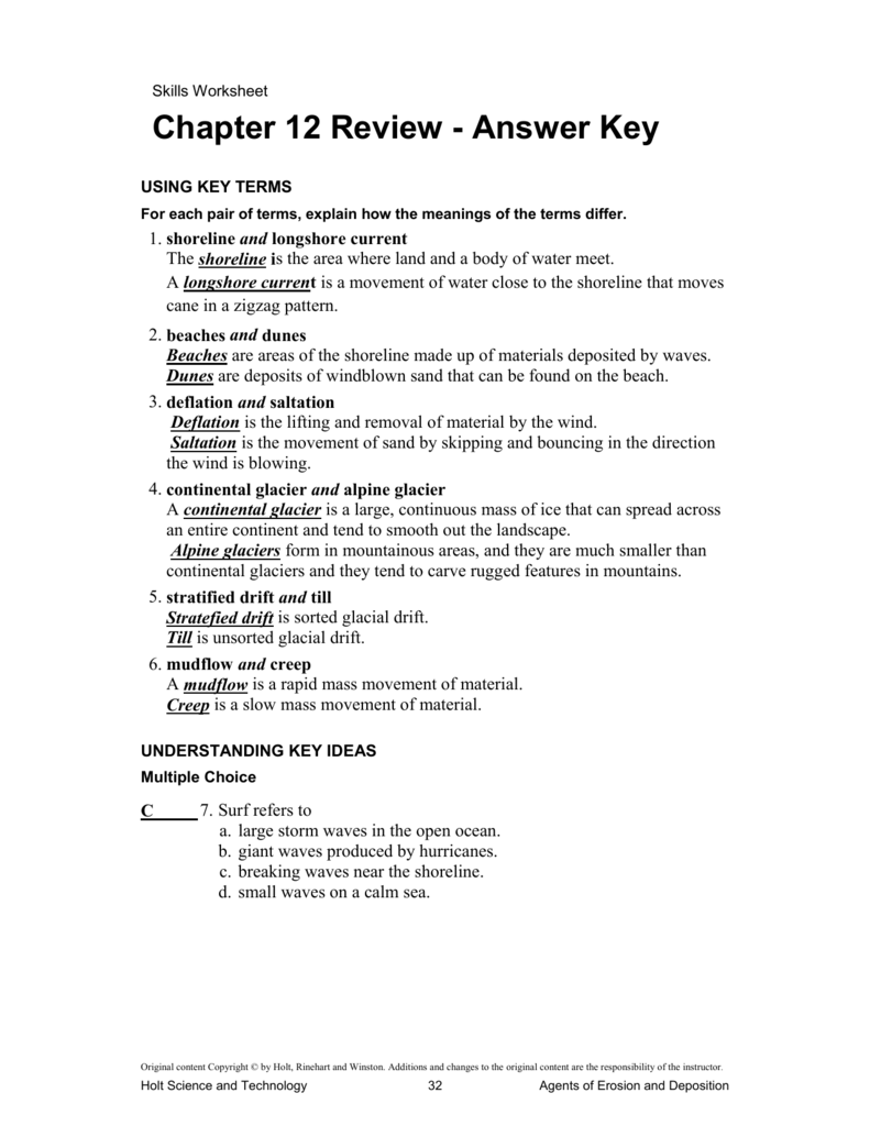 Chapter 12 Review – Holt Science and Technology Worksheets
