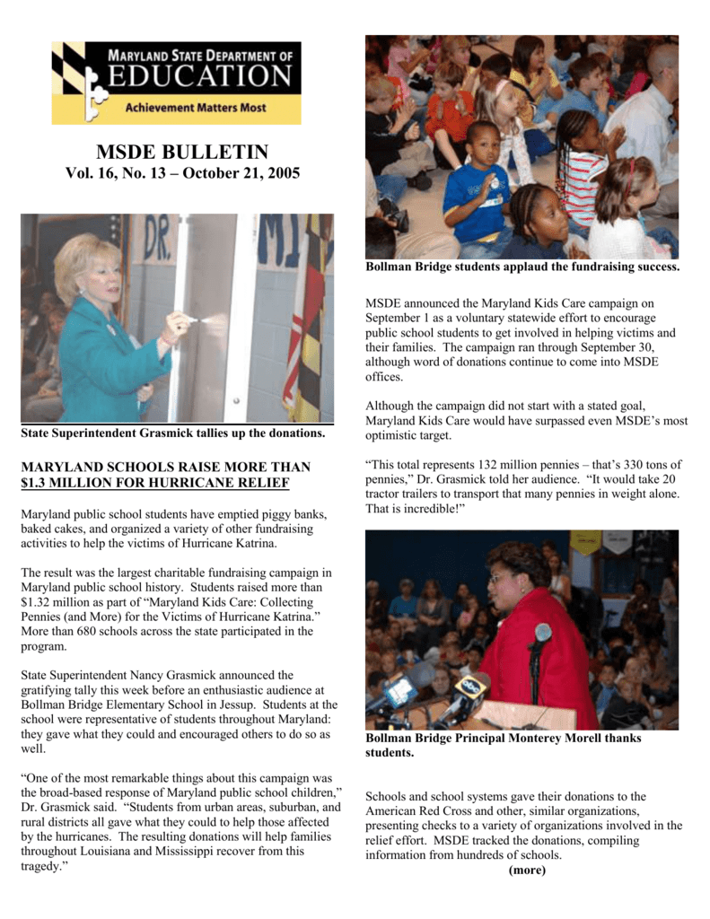 October 21 - Maryland State Department of Education