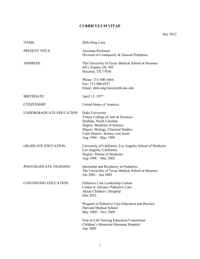 Liaw UT CV - University of Texas