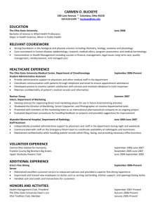 Sample resume - Student Health Services