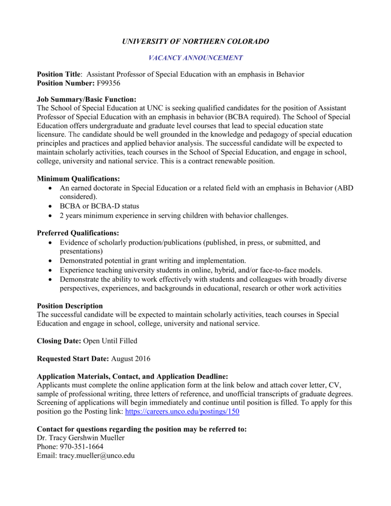 Cover Letter Special Education